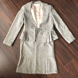 NEW WHBM Grey Ruffle Suit